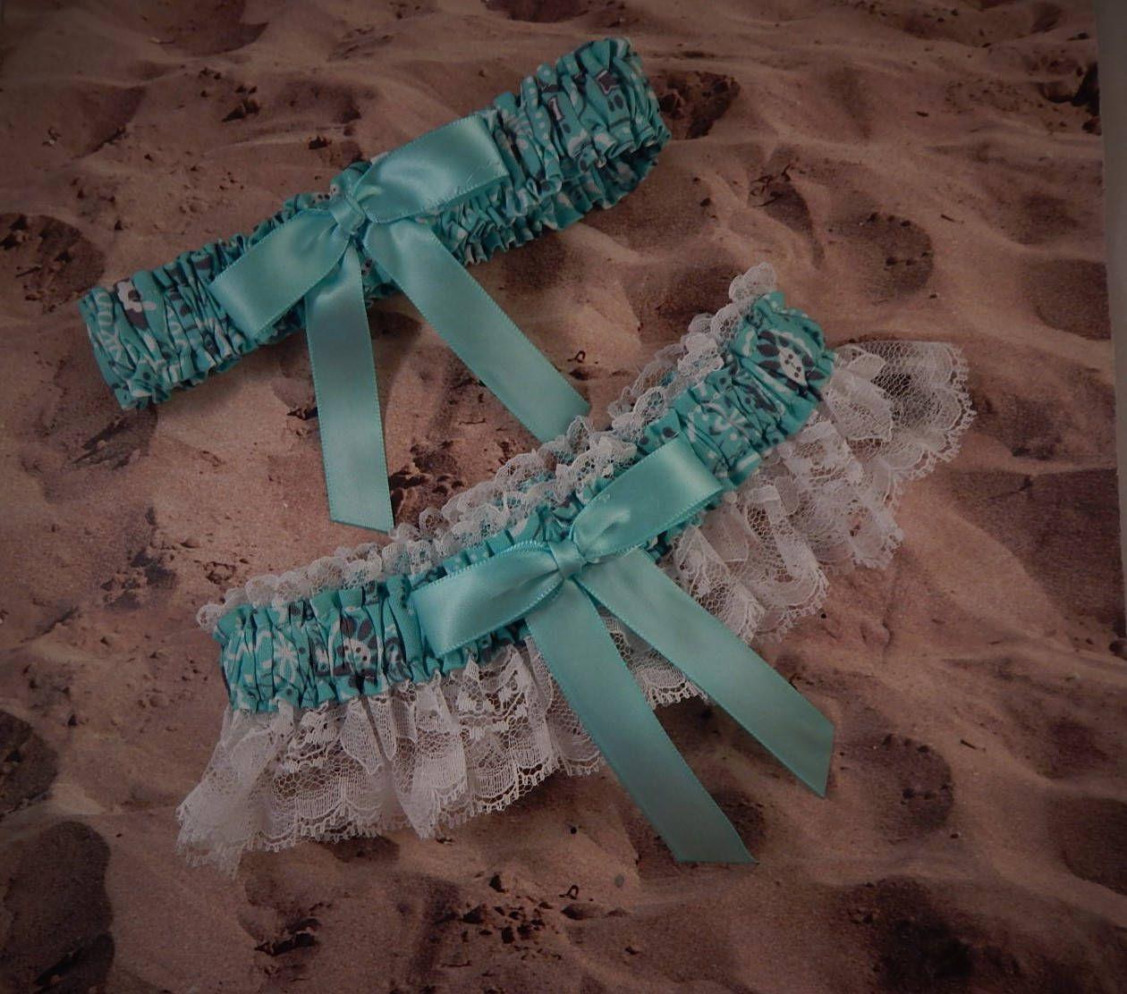 Country Wedding Garters: Aqua Marine Blue Bandana Paisley White Lace Country