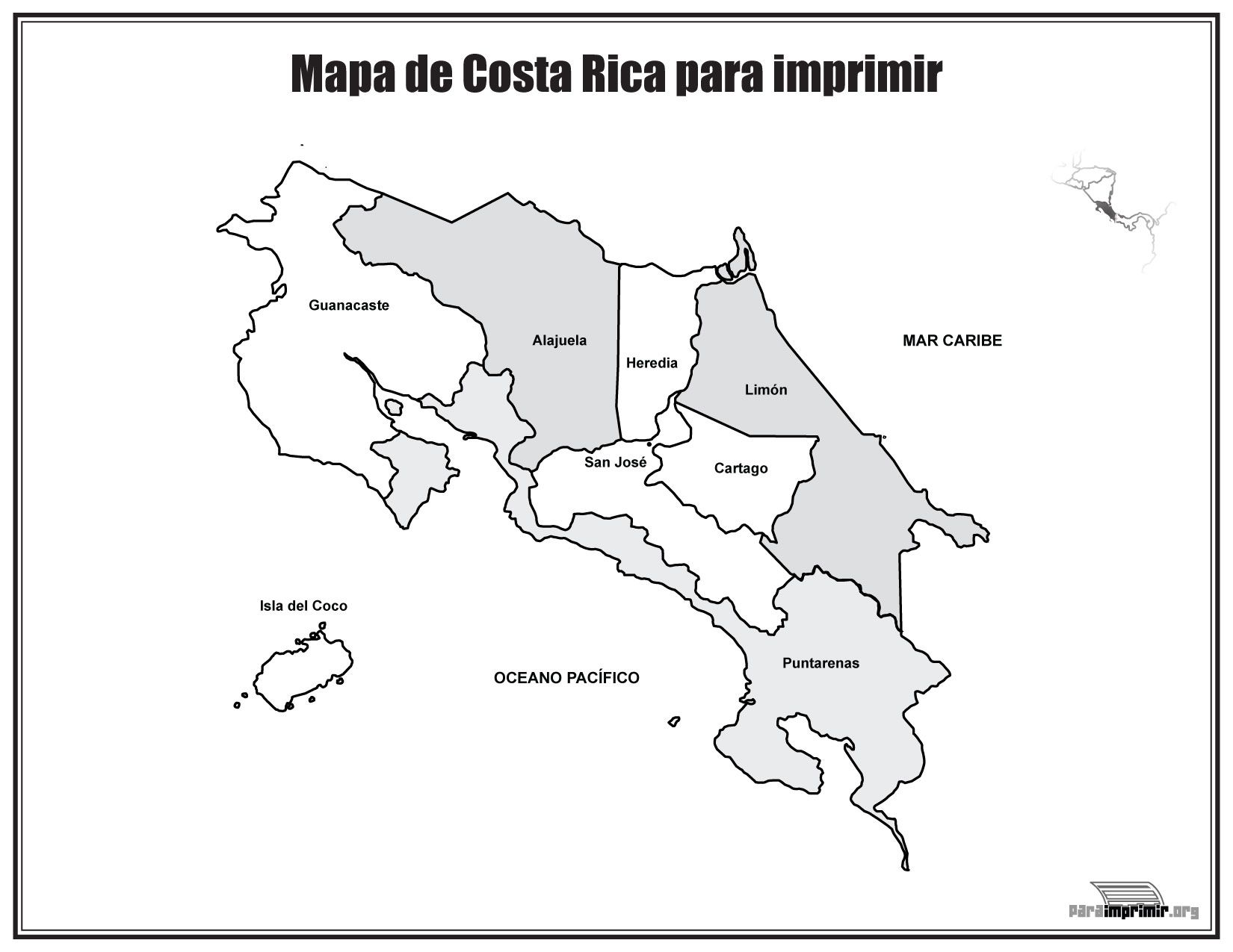 Mapa de Costa Rica con nombres para imprimir | Educación | Pinterest ...