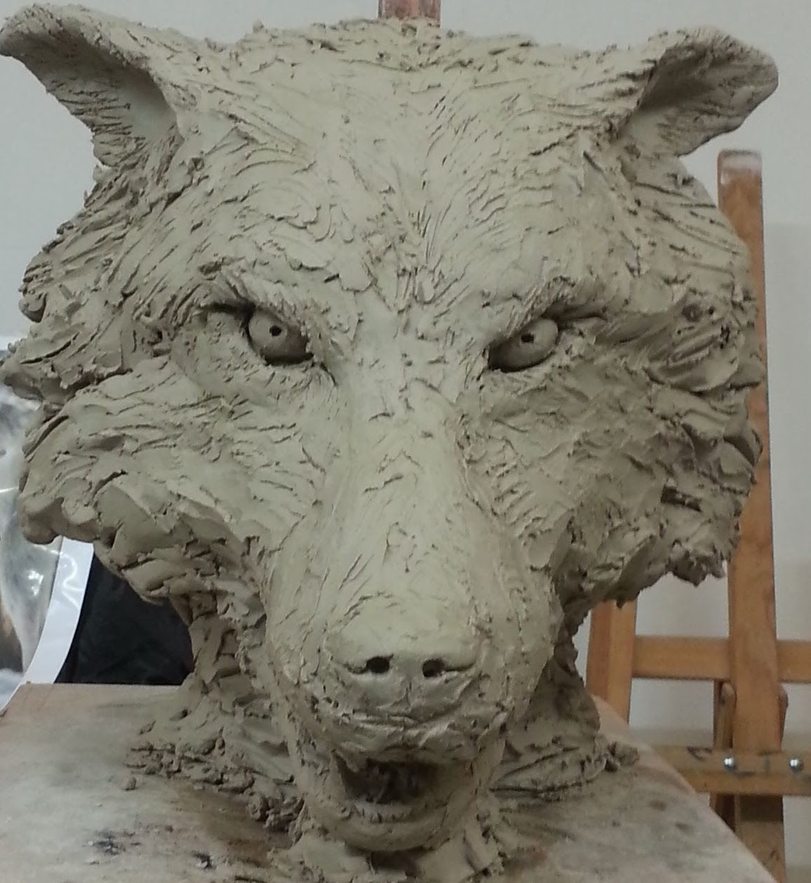 t te de loup sculpture argile blanche wolf head clay sculpture cr ation 2016 sculptures. Black Bedroom Furniture Sets. Home Design Ideas
