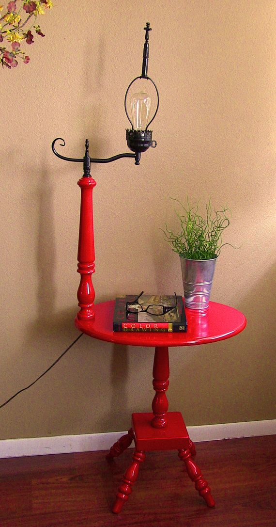 Vintage Red And Black Side Table With Lamp Attached By