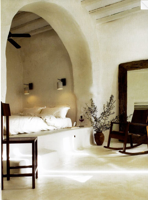 I love the soft lines you can make with natural materials! Love the alcove for the bed with no frame and the whole light vibe with dark wood. Can't put my finger on it, but its like the french countryside meets greek isles