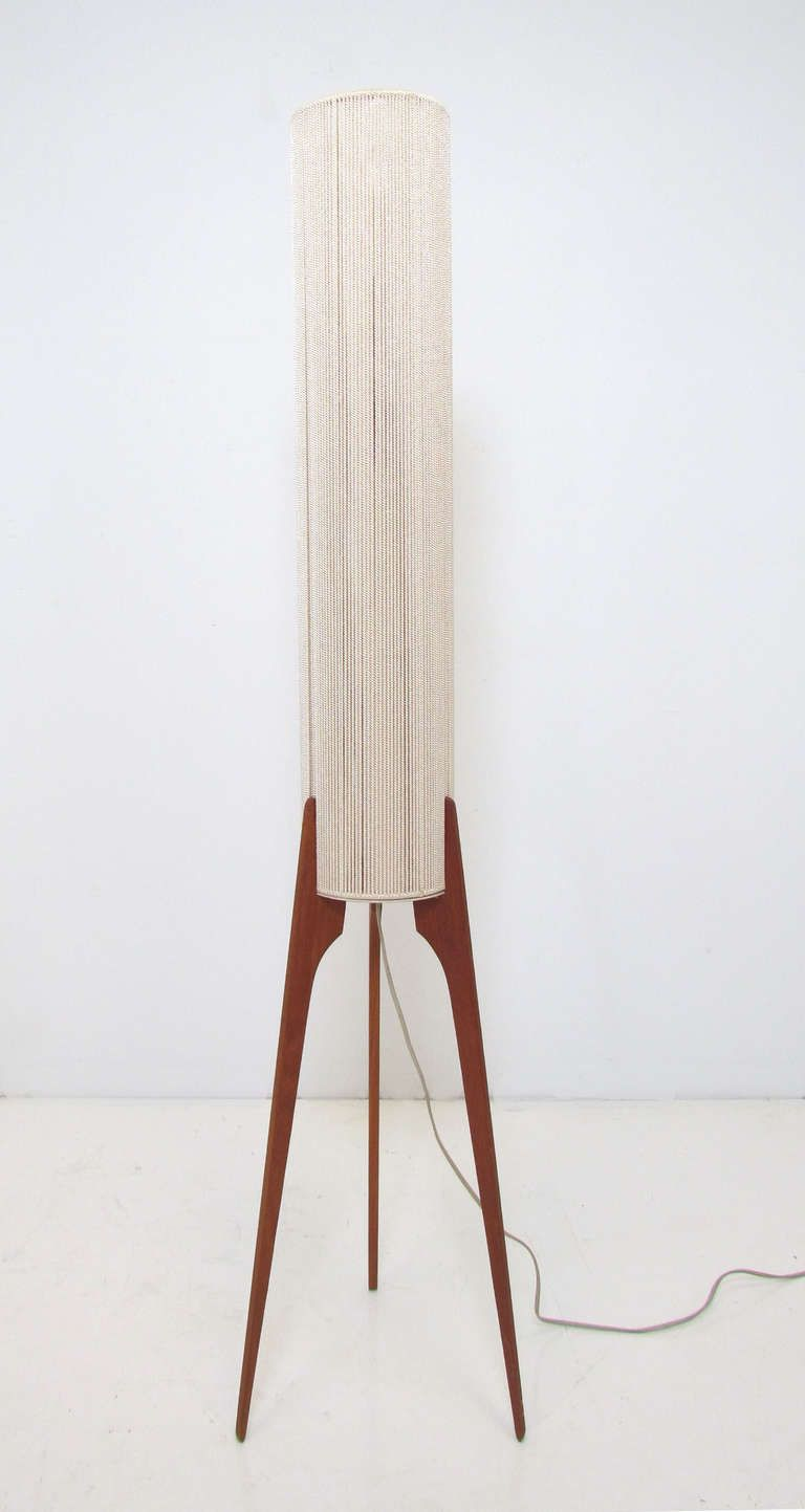 Danish Teak Tripod Floor Lamp Ca 1960s Mid Century Lamp Mid