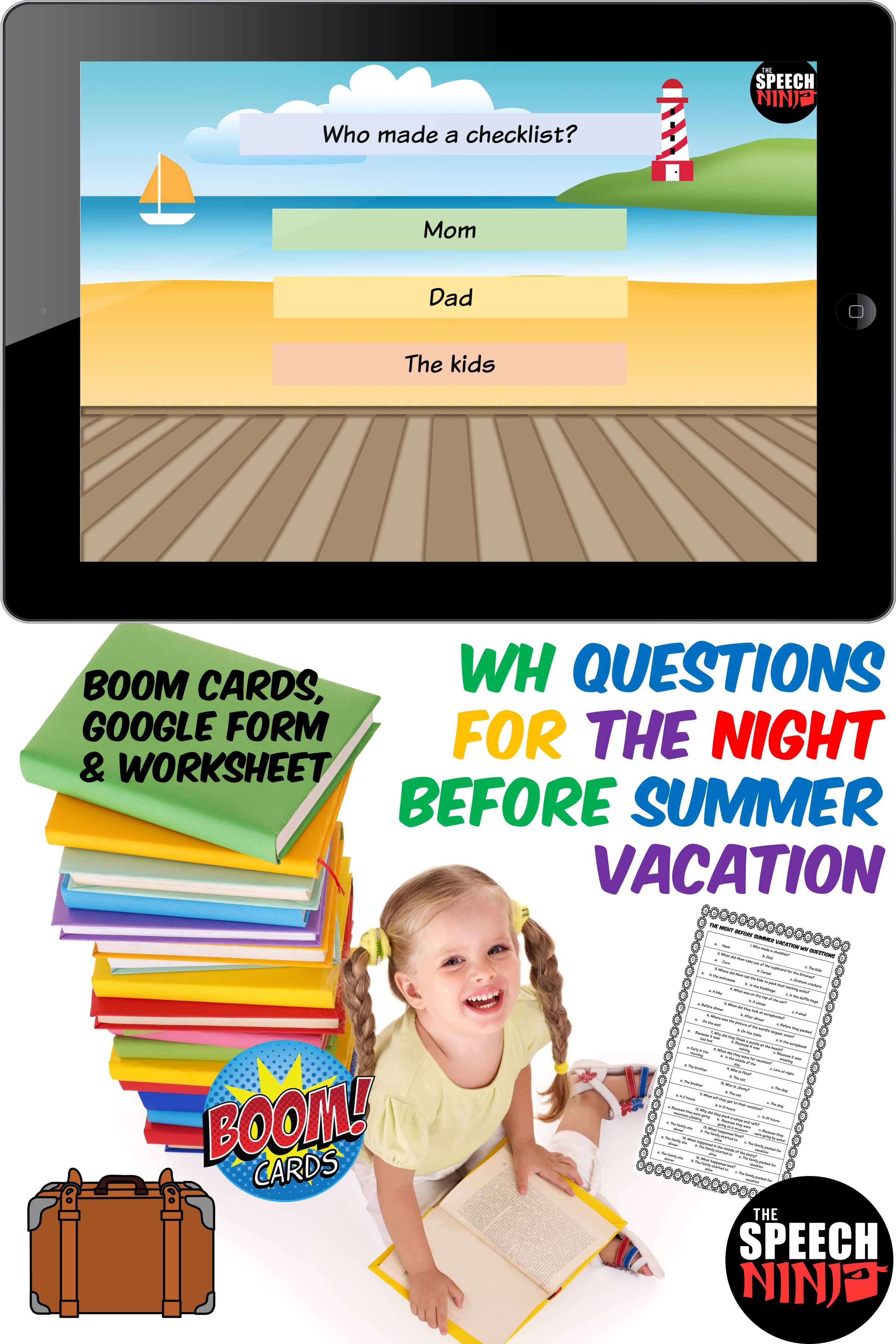 Wh Questions For The Night Before Summer Vacation In