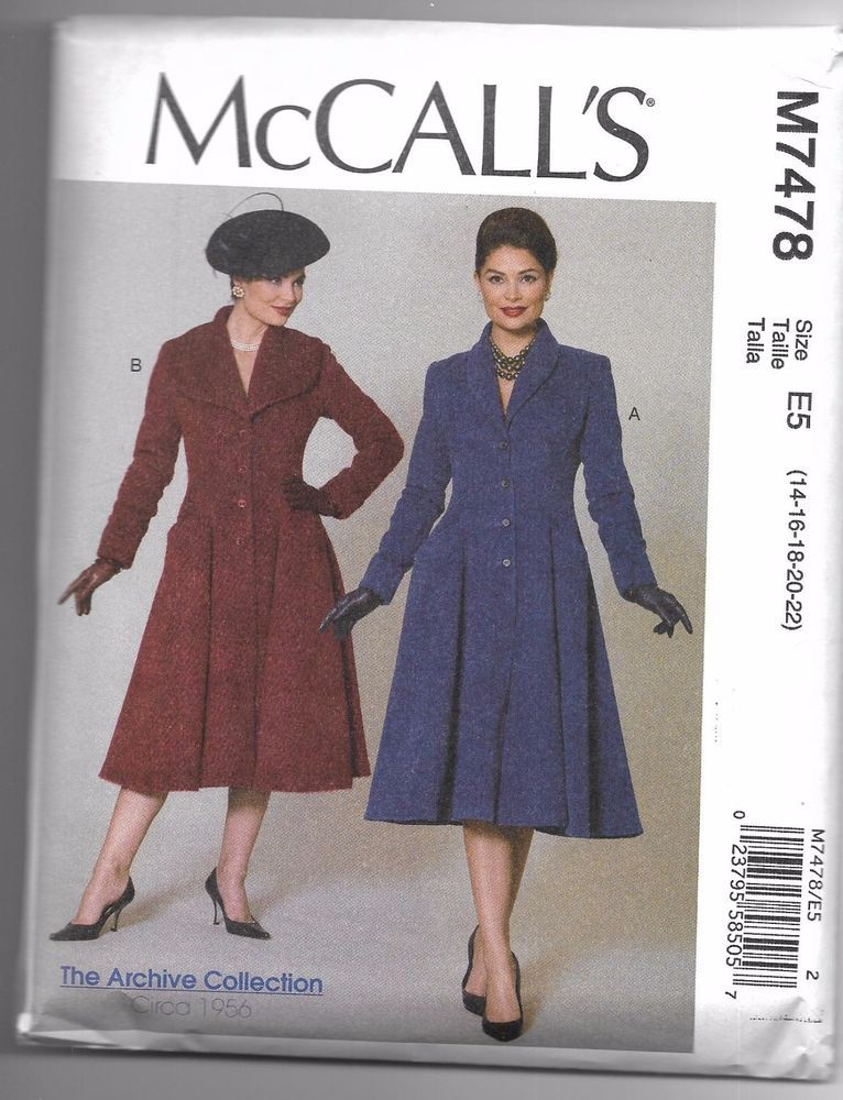 M7478 McCall's Womens Coats SEWING PATTERN Sizes 14-22 Vintage 1956 Reproduction  | eBay