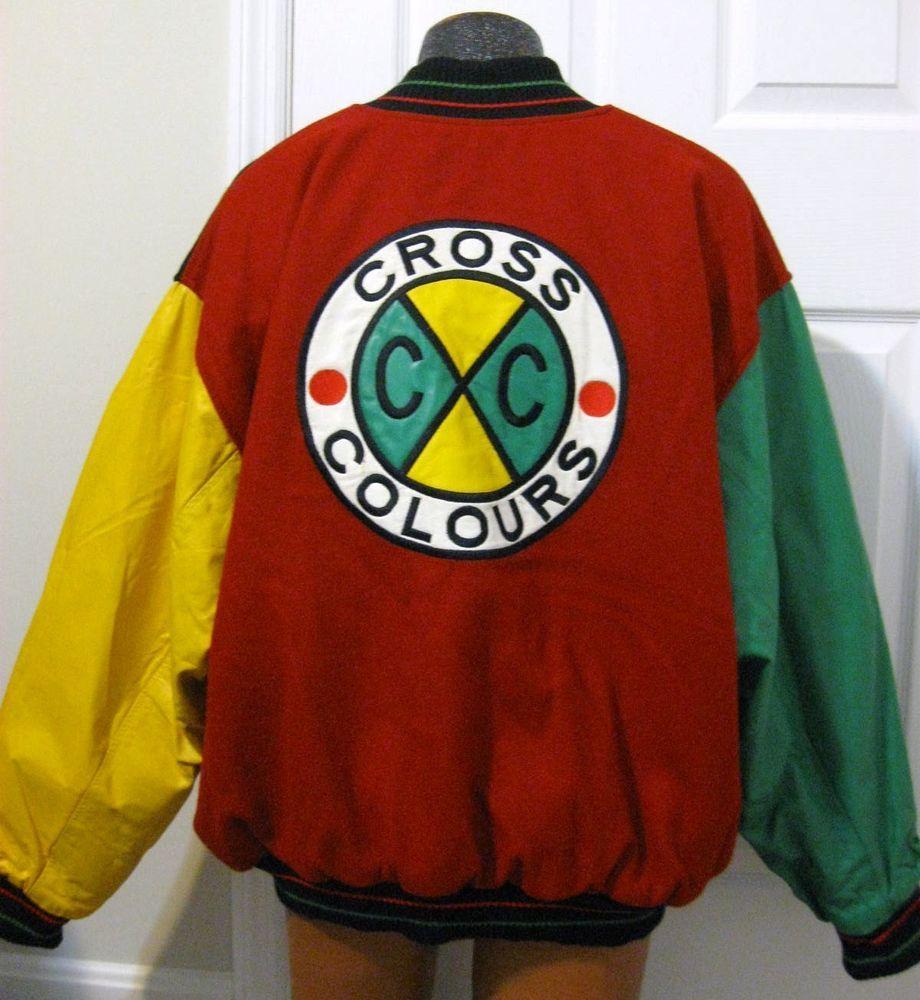 Vintage CROSS COLOURS Wool Leather Varsity Jacket 90s Hip