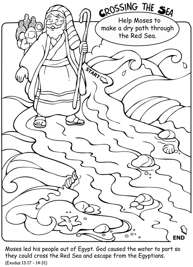 moses red sea crossing coloring pages | Welcome to Dover Publications | Bible: Moses | Moses red ...