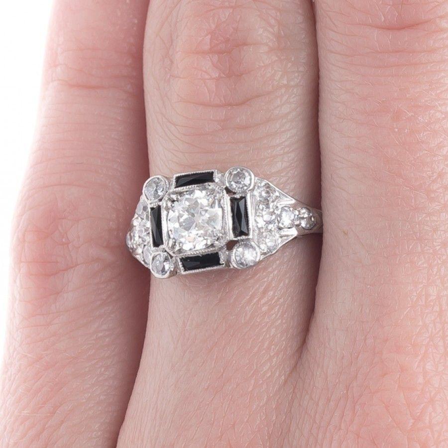 Geometric Art Deco Engagement Ring with Onyx Accents | Broadbridge ...