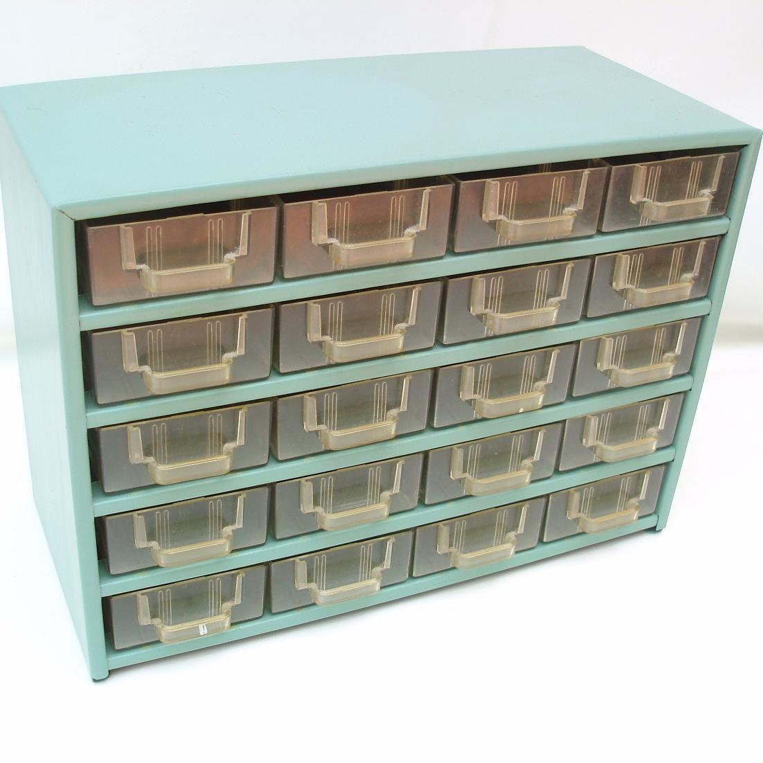 Craft storage drawers plastic - Sold Vintage Metal Storage Organizer 20 Drawer Industrial Cabinet Storage Box Craft Supply Toolbox Plastic