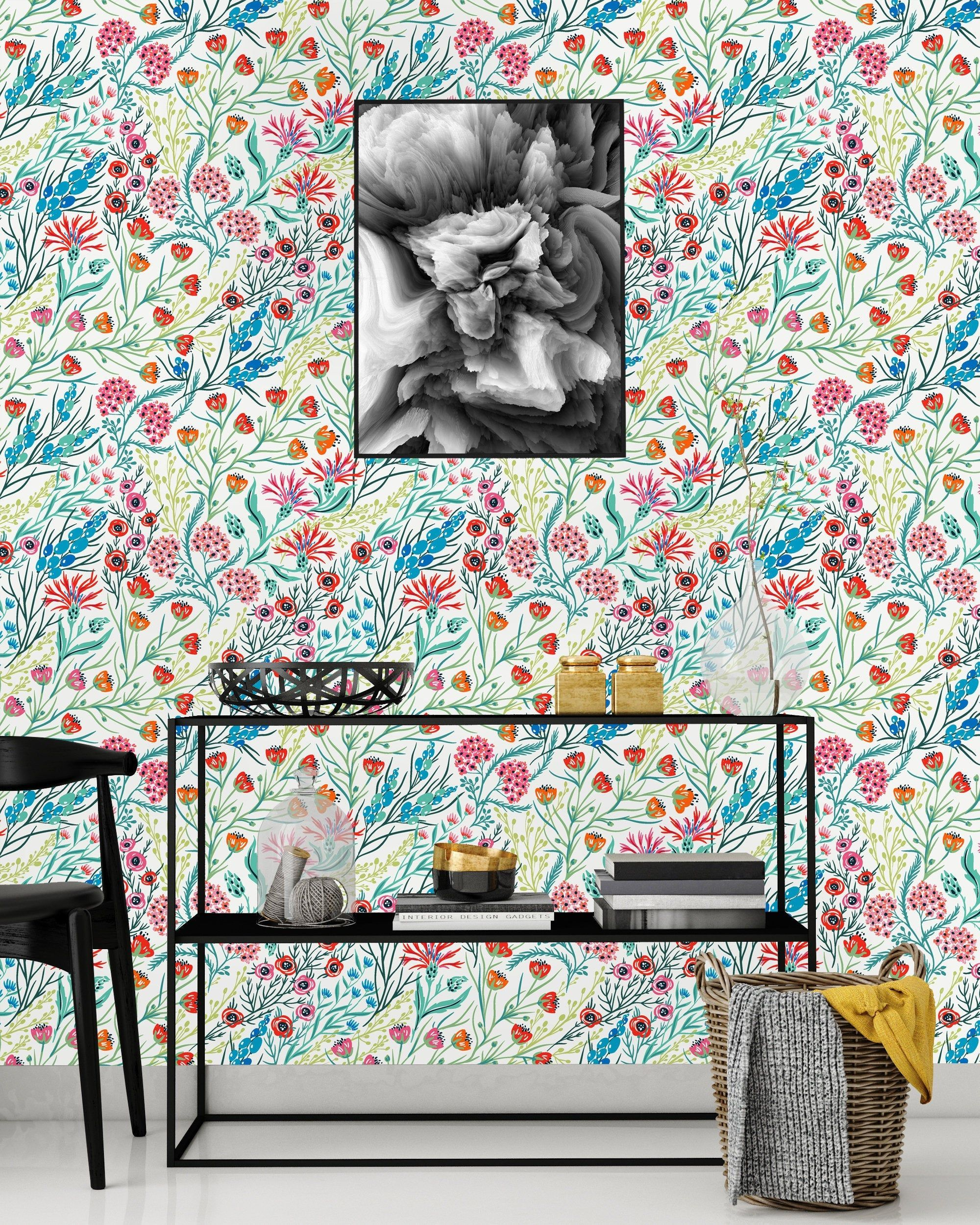 Poppy and Wild flowers Removable Wallpaper Peel