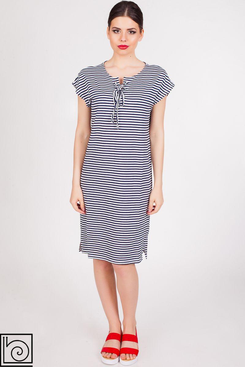 8ba6af702ce Платье короткое трикотажное в сине-белую полоску. Спущенное плечо ...