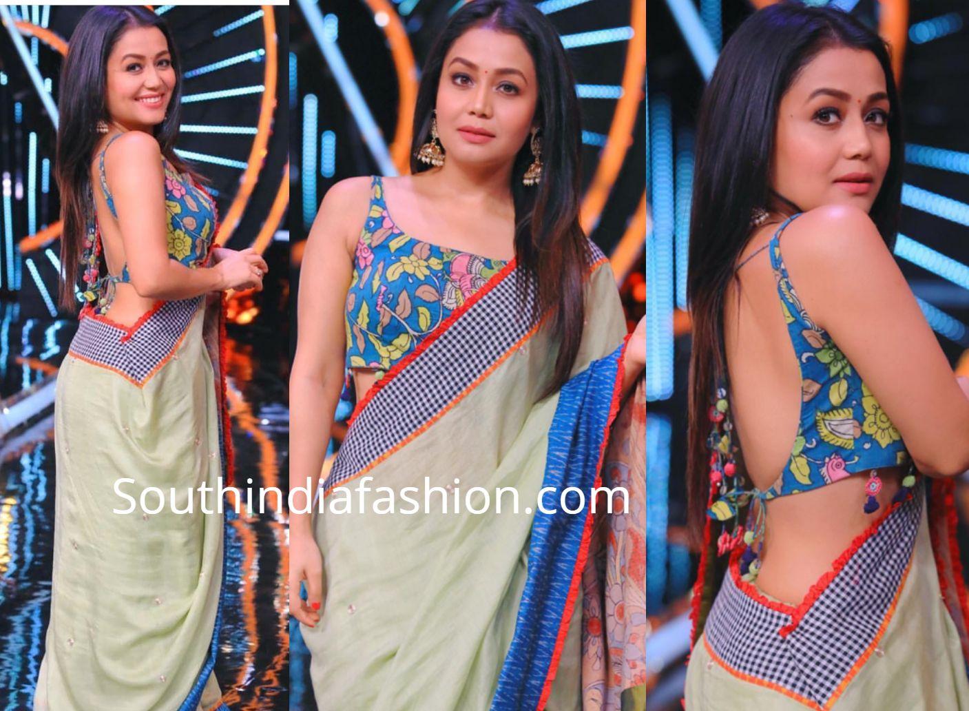 Neha Kakkar In A Kalamkari Saree South India Fashion Neha Kakkar Dresses Kalamkari Saree Backless Blouse Designs