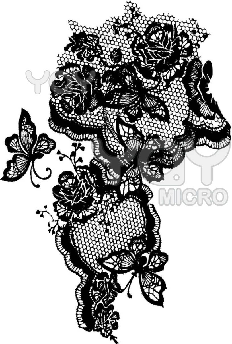 A pretty lace pattern with roses and butterflies
