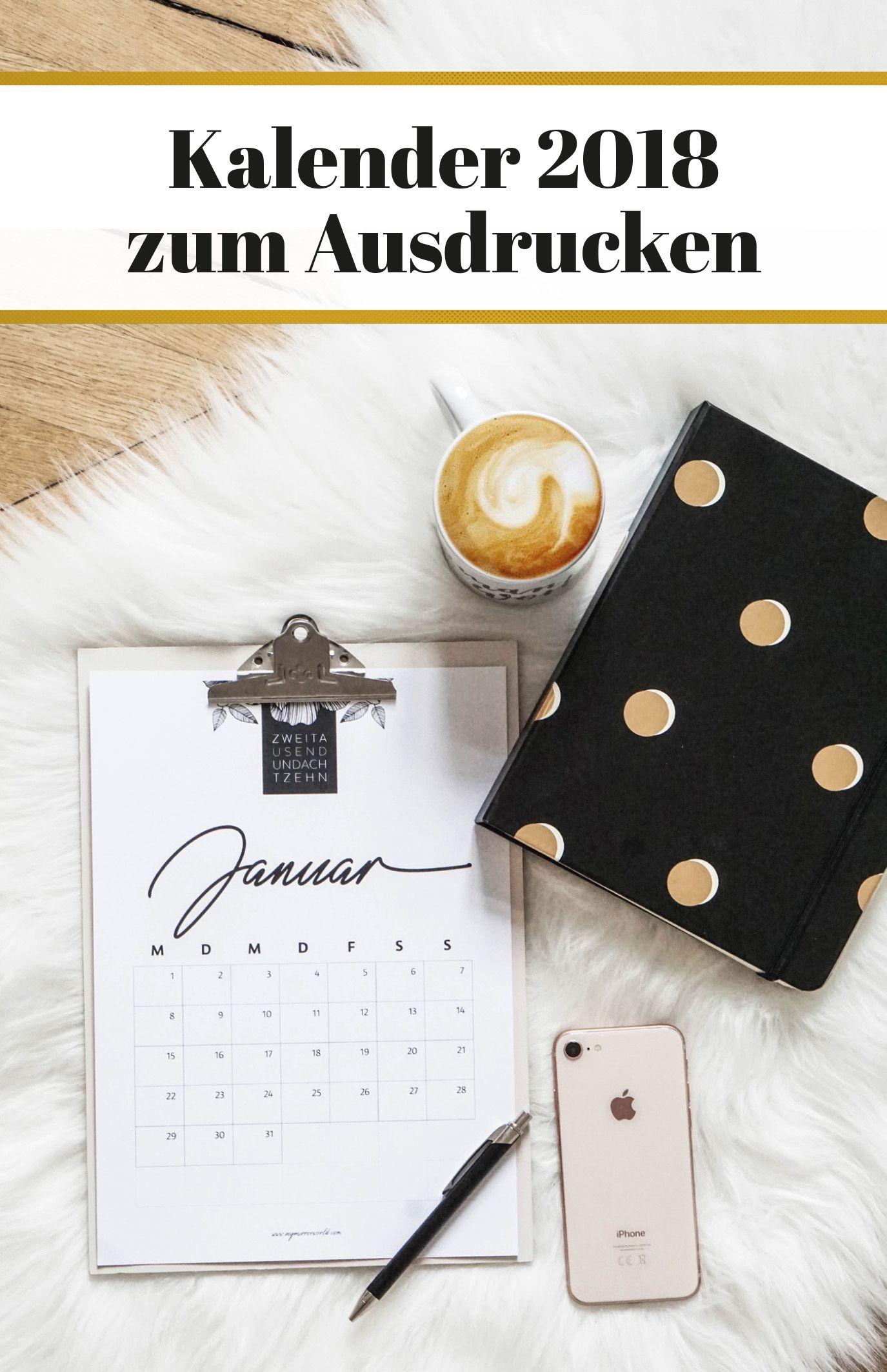 meine kalender 2018 zum ausdrucken f r dich printables. Black Bedroom Furniture Sets. Home Design Ideas