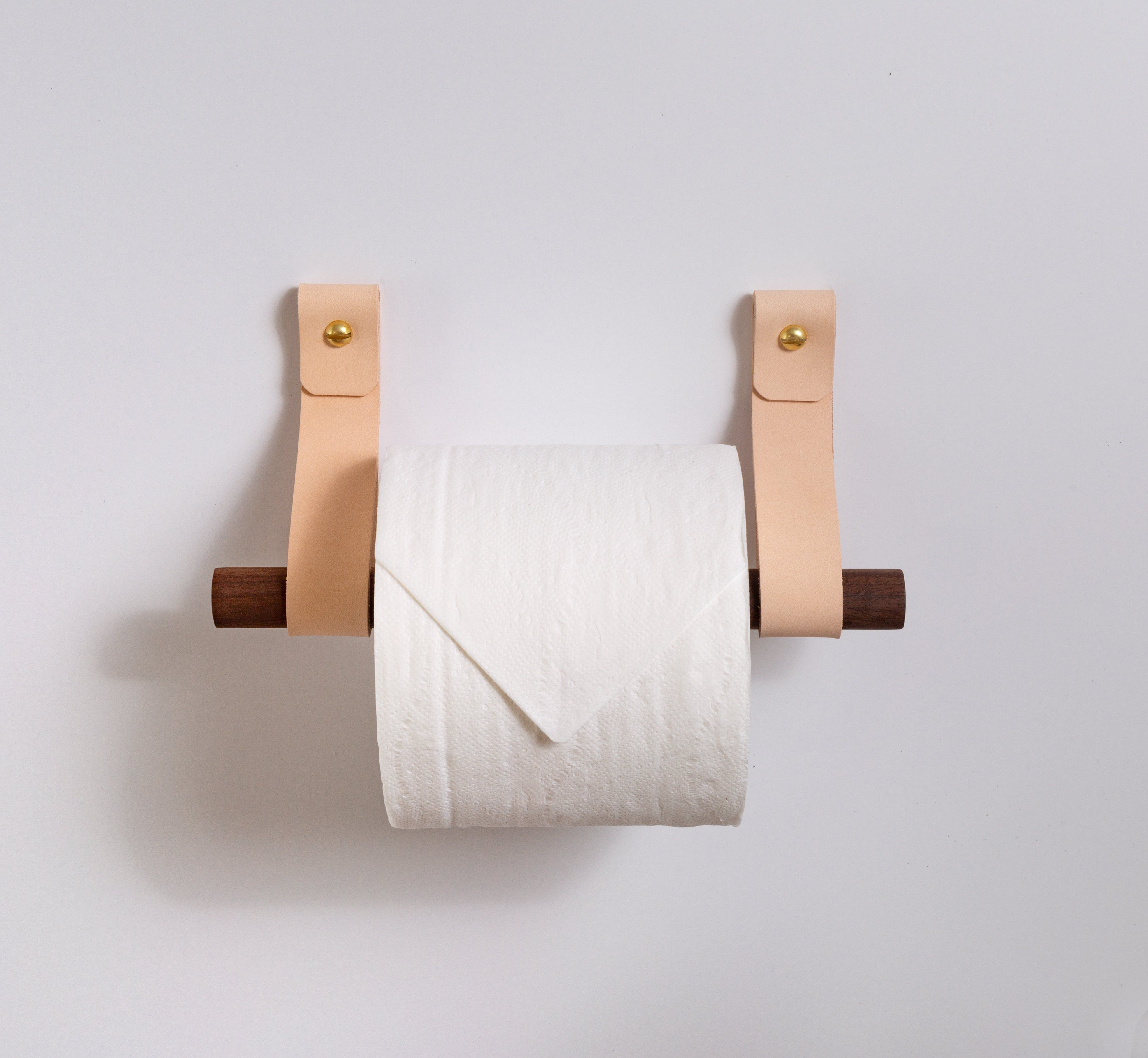 Photo of Toilet Paper Holder Kit [Round End] – Veg Tan / Birch / Steel