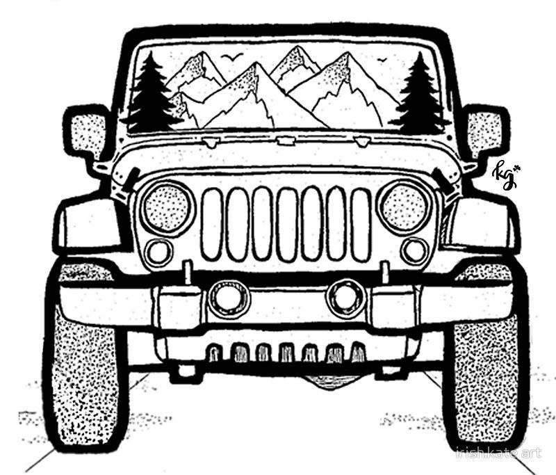 Jeep Adventure Sticker By Irish Kate Art