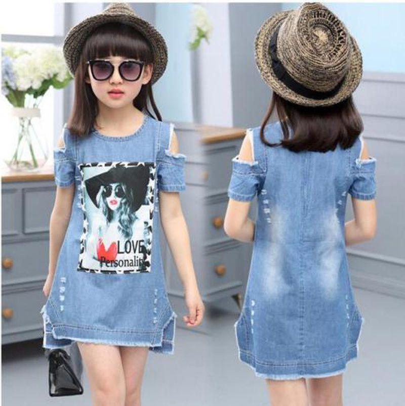 Baby Kids Girls Short Sleeve Denim Dew Shouder Dress 5 9years Ebay Fashion Girls Denim Dress Kids Outfits Girl Dress Patterns
