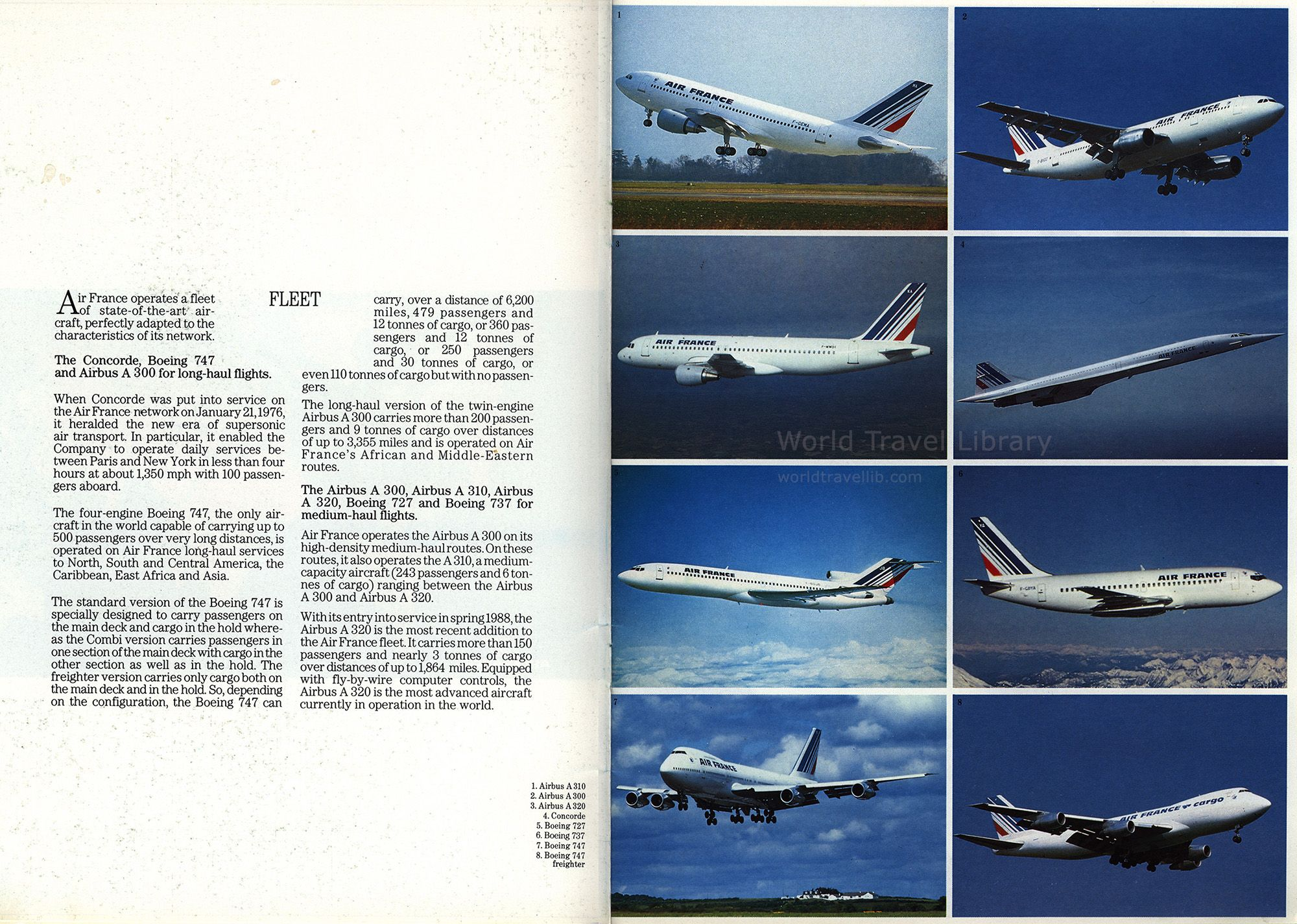 Air France 1991_3, fleet, airlines brochures A310, A300