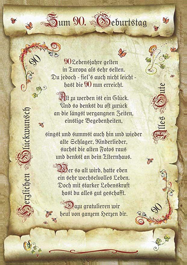 Geschenk 90 Geburtstag Gedicht Prasent Jubilaum Geburtstag