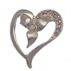 Spruce silver & crystal heart shaped scarf clip