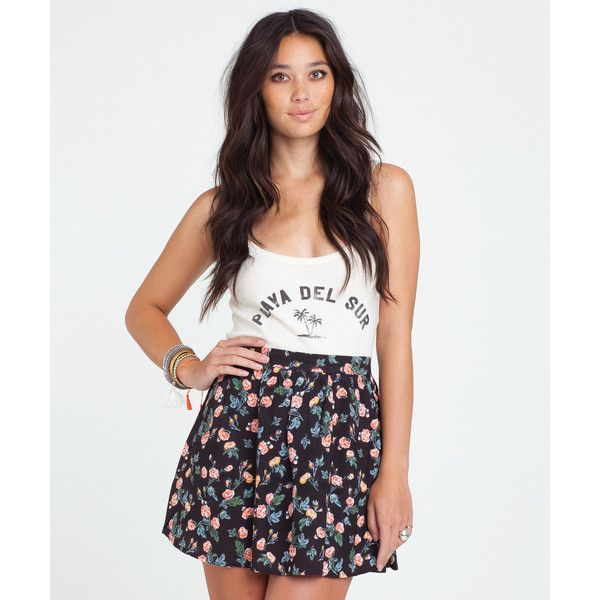 Billabong Women's Sweet Sandz Mini Skirt ($35) ❤ liked on Polyvore featuring skirts, mini skirts, off black, print mini skirt, black miniskirt, black high waisted skirt, black skirt and short black skirt