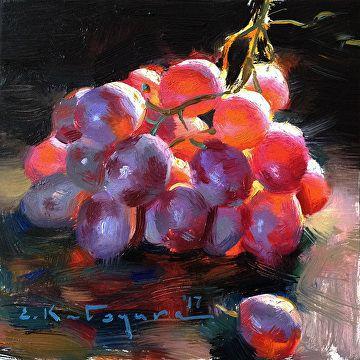 Red Globe Grapes by Elena Katsyura Oil ~ 6 in x 6 in