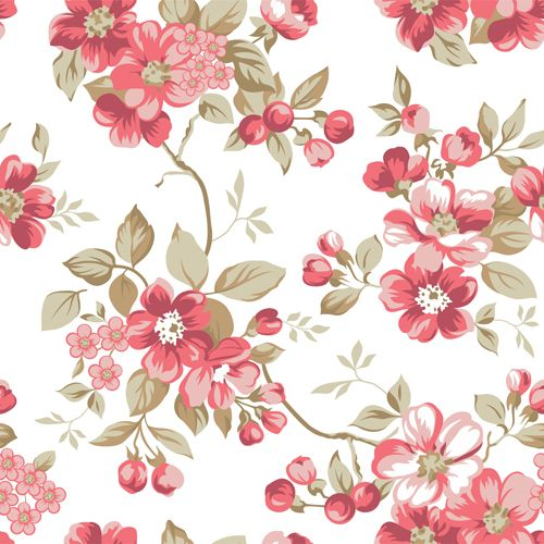 Clair Floral Seamless Pattern Vector 02 Organized Floral Pattern