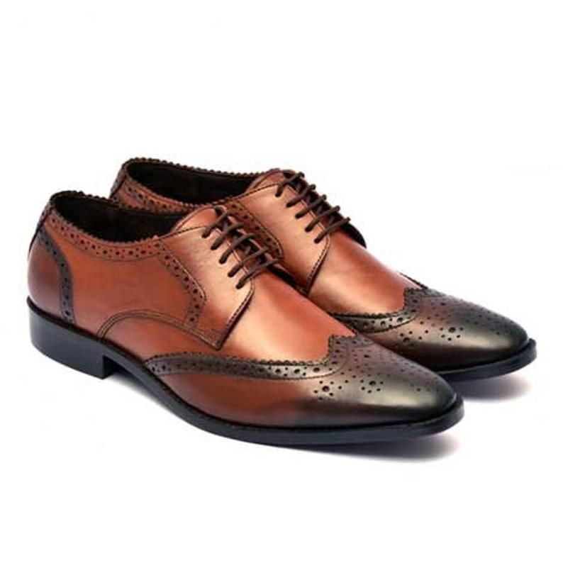 Men/'s Oxford Business Brown Burnished Brogue Toe Handmade Genuine Leather Shoes