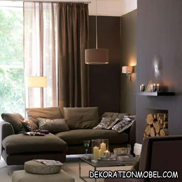 Gut Braun Rosa Wohnzimmer Kamin Polster Sofa Metall