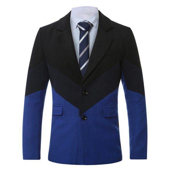 Lapel Single-Breasted Color Block Splicing Wool Coat