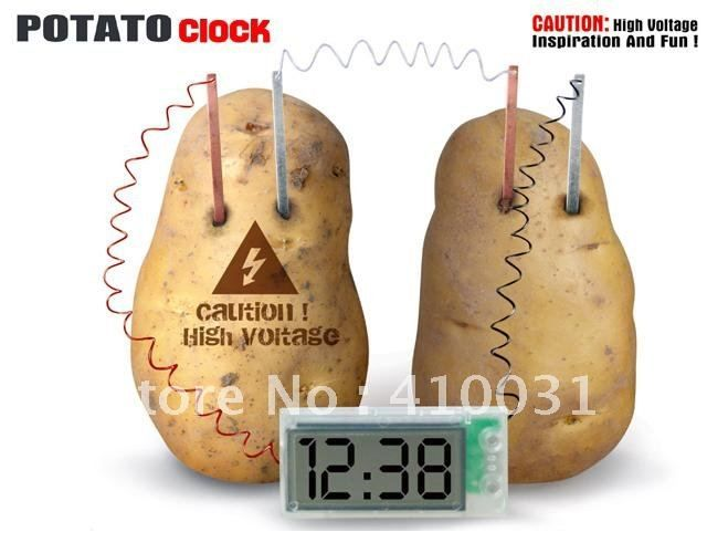 Just push the zinc and copper electrodes into the potatoes causing an oxidation/reduction reaction that is converted to low voltage. Description from picclick.com. I searched for this on bing.com/images