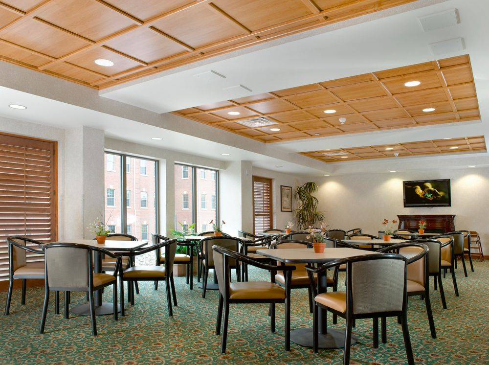 Commercial Installment of drop-grid coffered ceiling by ...