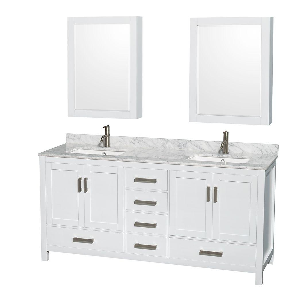Wyndham Collection Sheffield 72 In Double Vanity In White With Marble Vanity Top In Carrara White And Medicine Cabinets Wcs141472dwhcmunsmed The Home Depot White Vanity Bathroom Marble Vanity Tops Bathroom Vanity