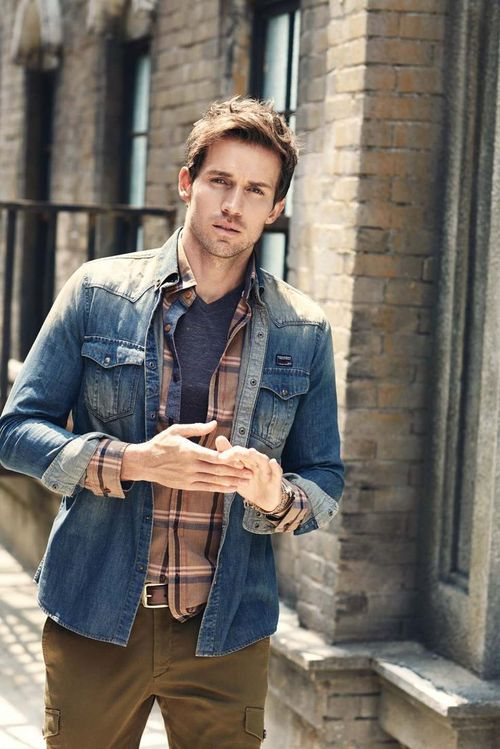 Men's Blue Denim Jacket, Brown Plaid Long Sleeve Shirt, Charcoal ...