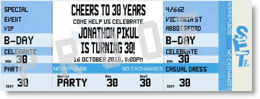 Cheers to 30 Years Birthday Ticket Invitations by Special Event Ticketing - Invitation Box
