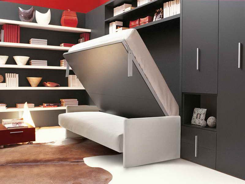 The Stylish Italian Wall Mounted Folding Bed With Skin Rug