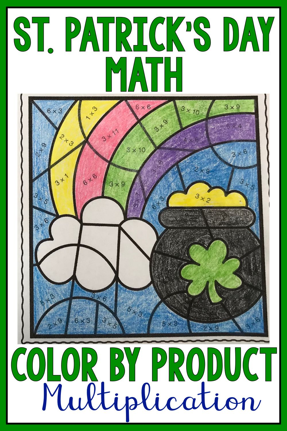 St. Patrick\'s Day Math | Color by Product Multiplication Facts 1-12 ...