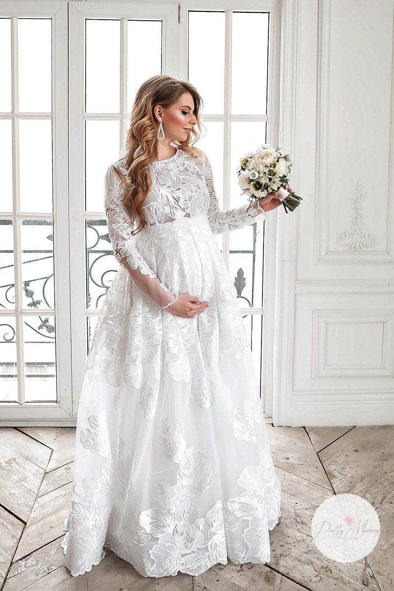 Long White Lace Maternity Wedding Gown Domenica Etsy In 2020 Pregnant Wedding Dress Maternity Bridal Gowns Pregnant Wedding