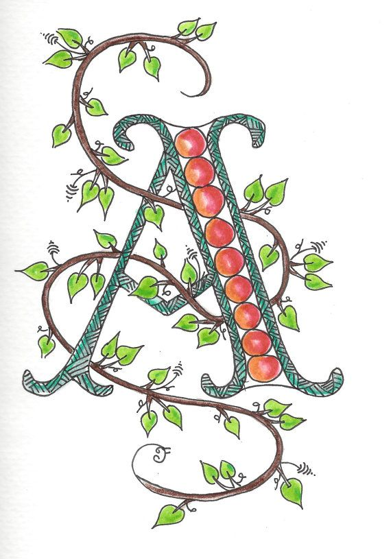 Zentangle inspired monogram letter note card by