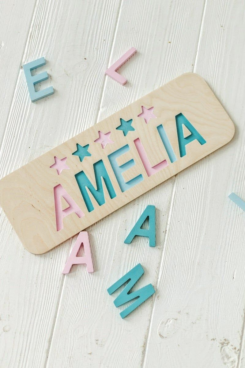 1st Birthday Gift Eco Gifts Personalized Gifts Christmas Ornaments Name Sign Toys for Toddlers Wood Name Puzzle for Little Girl