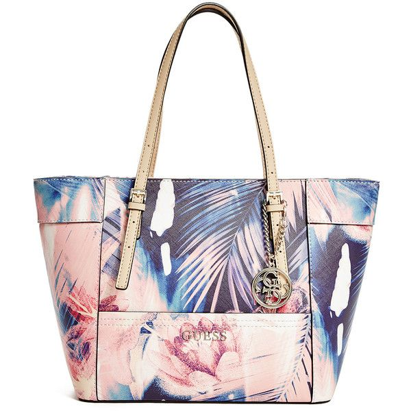 bdaf6777e507 GUESS Delaney Floral-Print Small Classic Tote (€79) ❤ liked on Polyvore  featuring bags