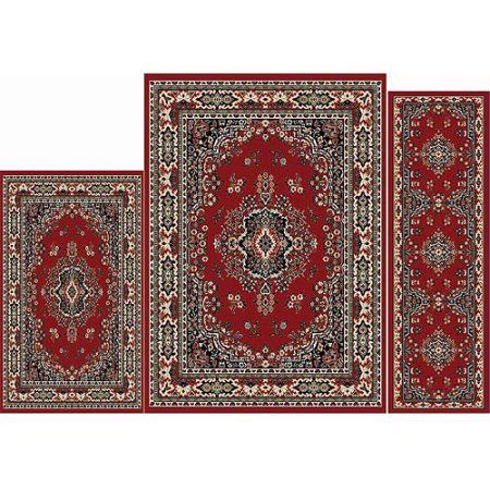 Creative Home Area Rugs: Ariana Rug: 7069 Traditional Persian Medallion Claret, Red