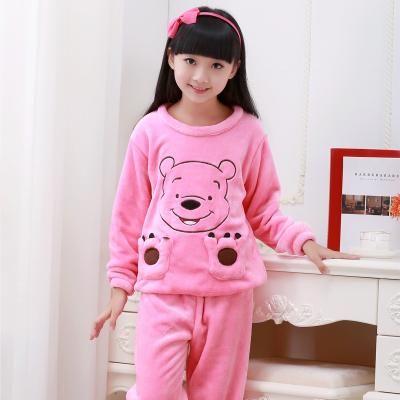2017 Winter Children Fleece Pajamas Warm Flannel Sleepwear Girls Loungewear Coral  Fleece Kids pijamas Homewear Winter Pyjama 8f3792f3e