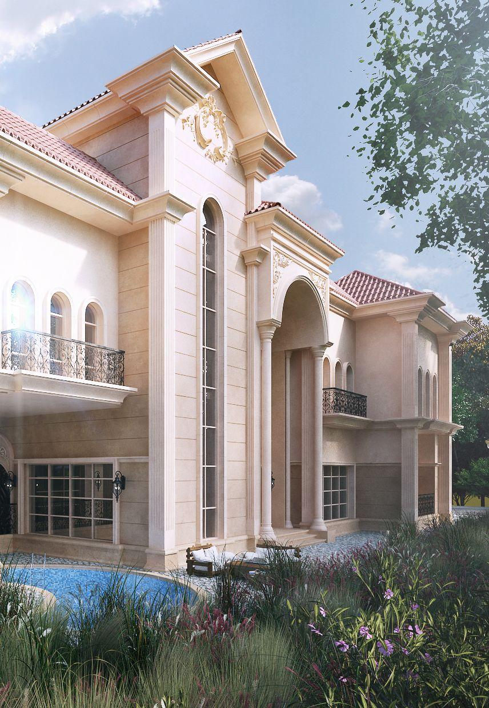 Villa Project 0 0 On Behance Roman House Villa Design House Elevation