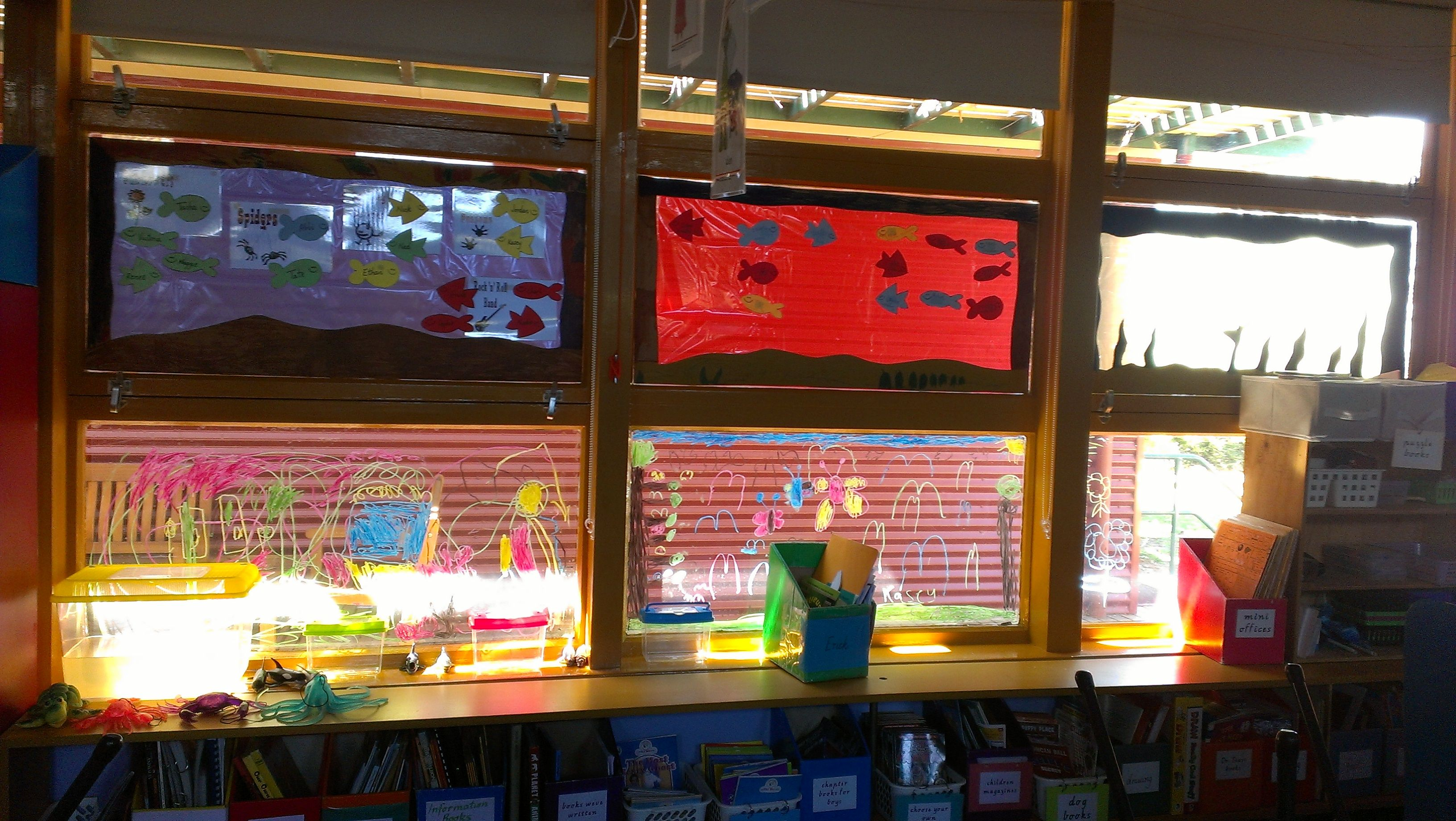 Make your own window Aquariums for the classroom. Use cellophane and ...