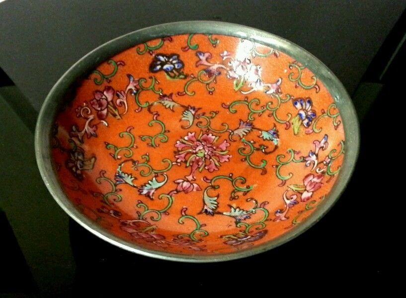 Japanese Porcelain Ware ACF - Red Orange Floral Enamel Bowl - Hong Kong Pewter