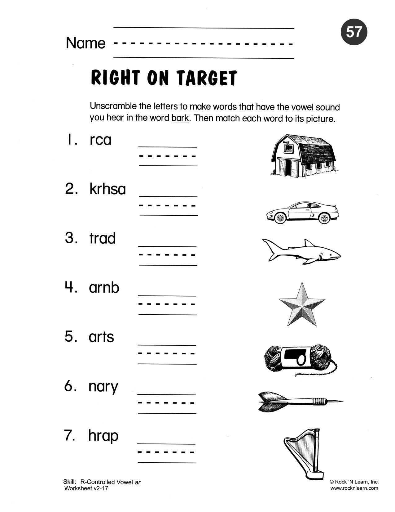 worksheet Y As A Vowel Worksheets unscramble the letters to make words that have vowel sound r controlled ar free phonics worksheet