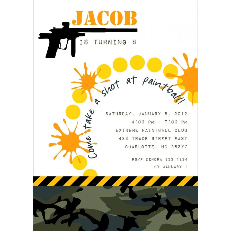 paintball party invitations for A\'s bday | party decoration & ideas ...
