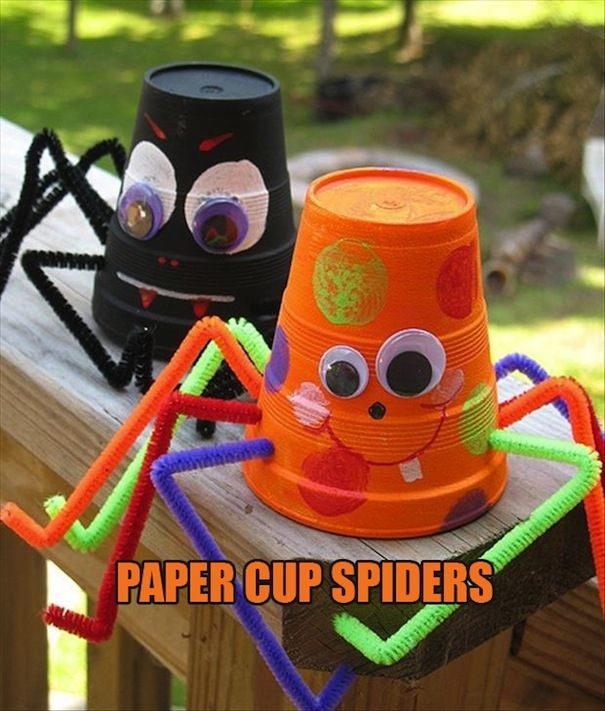 paper cup spiders halloween halloween decorations halloween crafts - kids halloween party decoration ideas