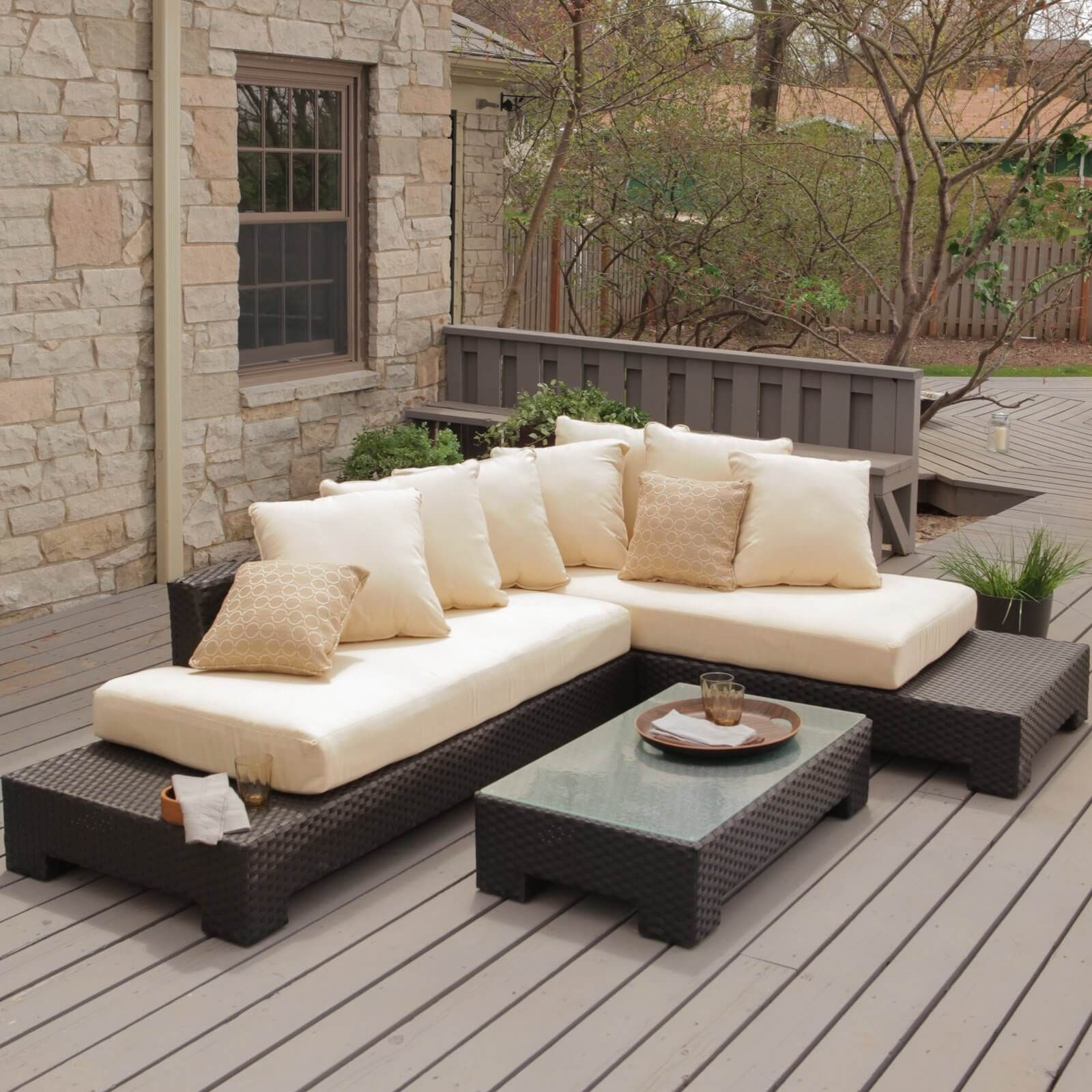 l shaped patio furniture on Modern Styled Sectional Consists Of Two Chaise Shaped Pieces With Base Extending Be Modern Patio Furniture Modern Outdoor Furniture Comfortable Patio Furniture