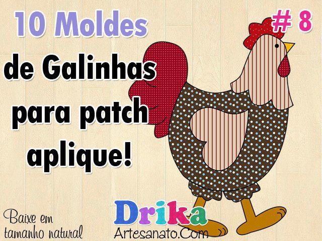 Baixe GRÁTIS: 10 Moldes de Galinhas e Galos para Patch Aplique em ...
